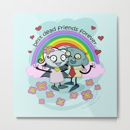 Best Dead Friends Forever - Steve the zombie & Violet the vapire Metal Print