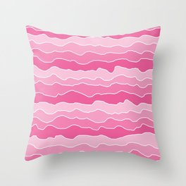 Four Shades of Pink Squiggles  Throw Pillow