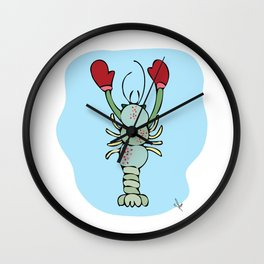 Green Maine Lobster With Winter Mittens on Beach Print Wall Clock
