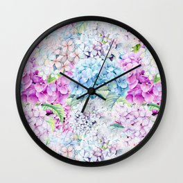 Multicolor Watercolor Hydrangea dream pattern Wall Clock