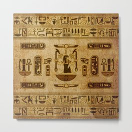 Vintage Egyptian Ornament  Old Papyrus Metal Print
