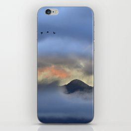 """Sunrise at the mountains"". Birds in the morning. iPhone Skin"