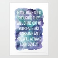 If you have good thoughts... (Blue/Green Watercolour) Art Print