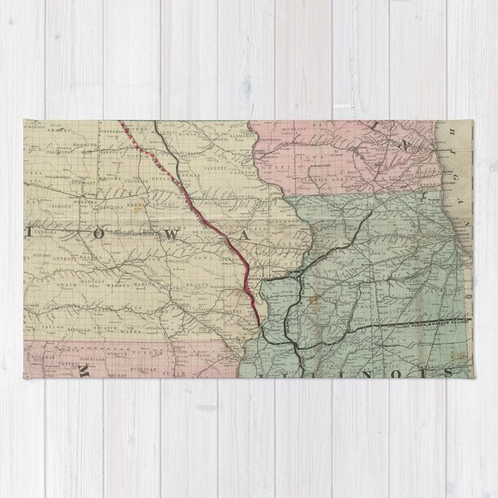 Vintage Midwestern United States Railroad Map Rug By Bravuramedia