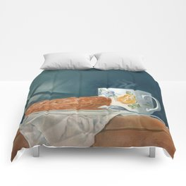 Breakfast of Champions (donut and coffee) Comforters