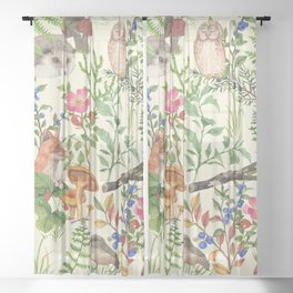 Hand drawn seamless pattern with watercolor forest animals and plants. Pattern for kids, wood inhabitants, cute animals Sheer Curtain