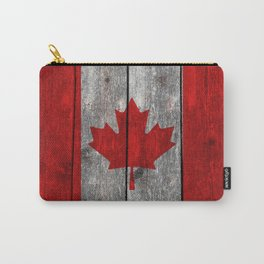 Canada flag on heavily textured woodgrain Carry-All Pouch