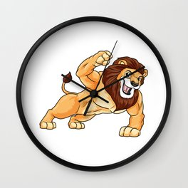 Lion as Bodybuilder with big Muscles Wall Clock