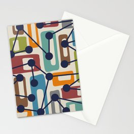Mid Century Modern Atomic Nucleus Pattern 424 Stationery Cards