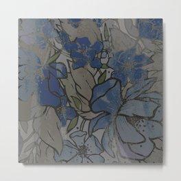 Faded Denim Florals Metal Print