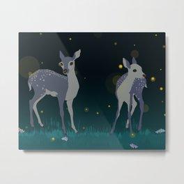 Fawns & Fireflies Metal Print