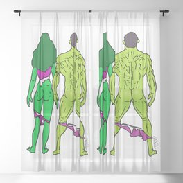 Superhero Butts Love 5 - Green Sheer Curtain