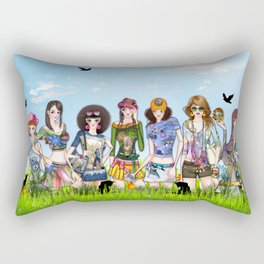 Trendy Fashion Models Rectangular Pillow