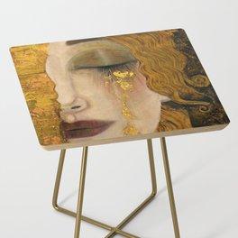 Golden Tears (Freya's Heartache) portrait painting by Gustav Klimt Side Table