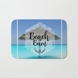 Tropical Scene with Thatched Palapa Beach Bum Typography Bath Mat