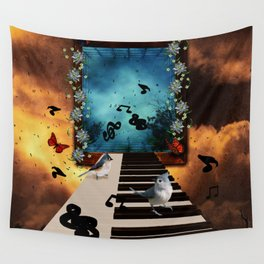 Music, piano with birds and butterflies Wall Tapestry