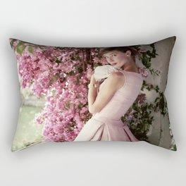 Audrey Hepburn Flowers Rectangular Pillow