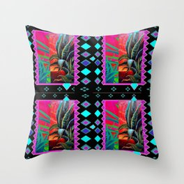 BLACK-TURQUOISE DESERT AGAVE PAINTING Throw Pillow