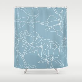 Roses, Line Drawing, White on Pale Blue Shower Curtain