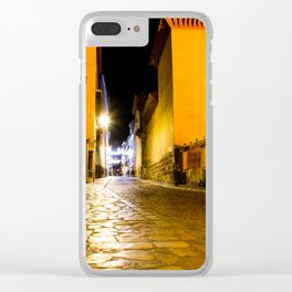 Nocturnal empty street Clear iPhone Case