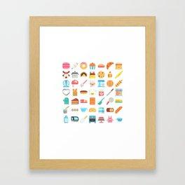 CUTE BAKERY PATTERN (CUTE CHEF BAKER) Framed Art Print