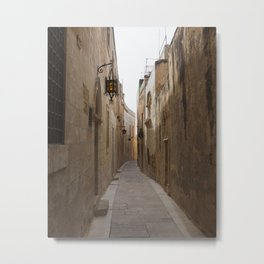 Narrow Streets in Mdina Metal Print