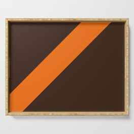 Brown & Orange Retro Stripe Serving Tray