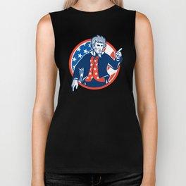 Uncle Sam American Pointing Finger Flag Retro Biker Tank