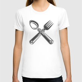 Dining set - a spoon and a fork. Lover to eat. Hungry. Glutton. Heavy eater. Eat. Food. T-shirt