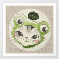 Froggie Kittie Cat Art Print
