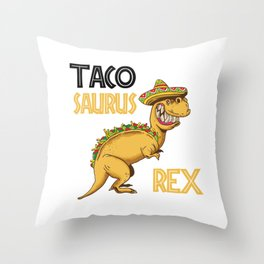 Taco Saurus Rex Mexican T-Rex Throw Pillow