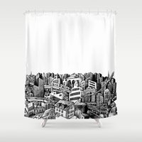 cityscape Shower Curtains featuring Cityscape by Nip Rogers