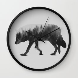 The Wolf (black & white version) Wall Clock