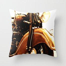 Motorcycle-Sepia Throw Pillow