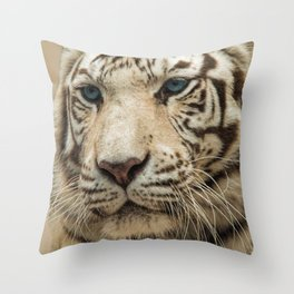 FACE OF THE WHITE TIGER Throw Pillow