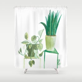 watercolor potted plants // macrame bohemian green house plant garden terrarium Shower Curtain