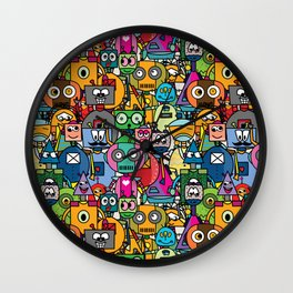All robots - cute and colorful pattern Wall Clock