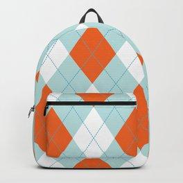 Aqua, Mint and Coral Orange Argyle Pattern Backpack