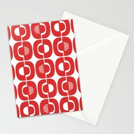 Retro Mid Century Modern Pattern 351 Red Stationery Cards