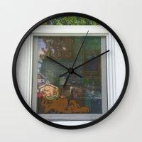 garfield Wall Clocks featuring Garfield in the House by Cody_Van
