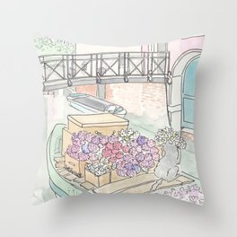 Venice Flower Boat and Cute Cat on Canal Throw Pillow