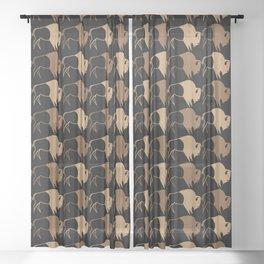 Native American Buffalo Running Sheer Curtain