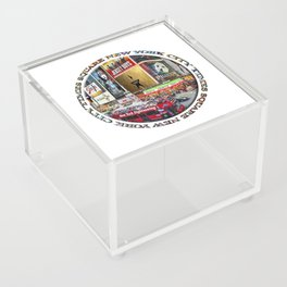 Times Square New York City (badge emblem on white) Acrylic Box