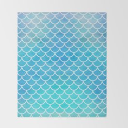 Aqua Mermaid Pattern Throw Blanket