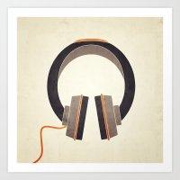 headphones Art Prints featuring Headphones by Sarah Rodriguez