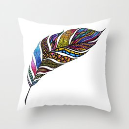 Colorful Watercolor Hand Drawn Tangle Feather Throw Pillow