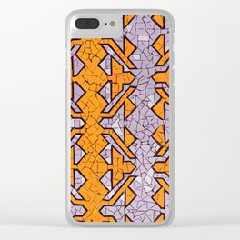 Orange and lila tile / mosaic / craquelé effect #Terrazzo #Blobs Clear iPhone Case