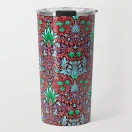 Modern Victorian Maximalist Pattern Art Decor In Red, Aqua Blue and Green Travel Mug