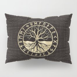 Tree of life  -Yggdrasil and  Runes on wooden texture Pillow Sham
