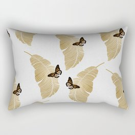 Butterfly & Palm Leaf, Gold Wall Art Rectangular Pillow